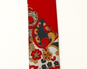 Frankie Four Handmade Skinny Red and Floral Neck Tie