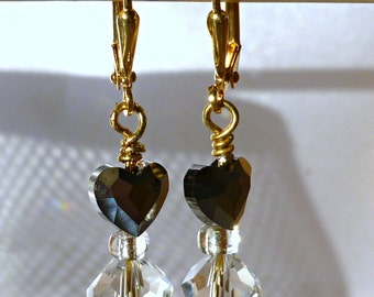 Swarovski jet heart and clear crystal dangle earrings, gifts for her