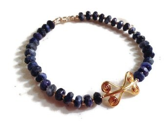 Lapis Bracelet - Navy Blue Jewelry - Lapis Lazuli Gemstone Jewellery - Gold - Beaded - Fashion