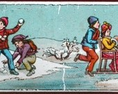 Snowball fight, Antique German Magic Lantern glass slide, Antique animation