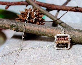 Hammered Silver Square Pendant with Copper Pyrite, Golden Yellow Quartz, Smoky Brown Topaz on Sterling Chain