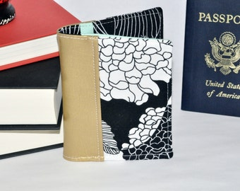 Floral Passport Wallet - Gold Passport Holder - Mini Journal Cover - Travel Gift Idea - Gift for Her