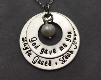 God gave me you hand stamped stainless steel mother/ grandmothers necklace