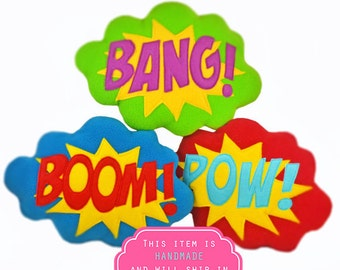 BANG,BOOM,POW   plushie / cushion - Superhero sound effect - Speech bubble