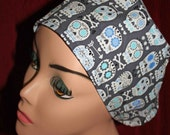 Gray Small Skulls Surgical Cap (biker/chemo/surgical)