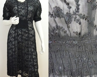 VINTAGE 1930s Exquisite Sheer Black Chiffon Embroidery Over Dress 12 40 / Art Deco
