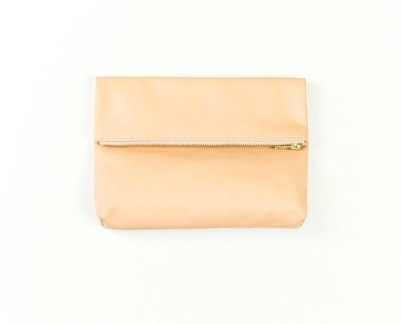 EMMA Peach Clutch. Peach Leather Foldover Clutch. Nude Leather Pouch. Nude Leather Clutch. Natural Leather Bag