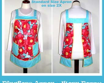 """Worn Poppy Pinafore Apron, loose fitting smock, all day apron- """"no tie apron"""" made to order in 2 sizes, LIMITED AVAILABILITY out of print"""