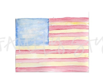 Watercolor American Flag Clipart
