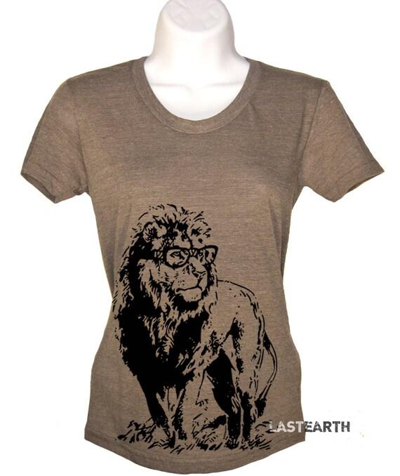 Lion Professor T-Shirt Womens Ladies Soft Vintage Tee Gift For Her Mom Teacher Graduation Gifts Present Birthday Smart Nerd Geek Geekery - M