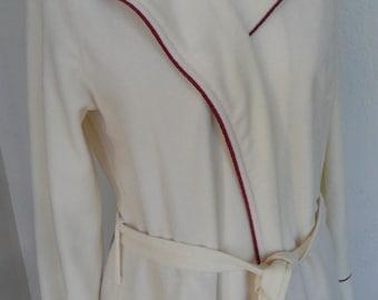 Vintage Robe Ivory Velour Full Length Dressing Gown Pierre Cardin Medium