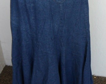 Denim Skirt Circle T by Marilyn Lenox Size 9/10 Western Wear