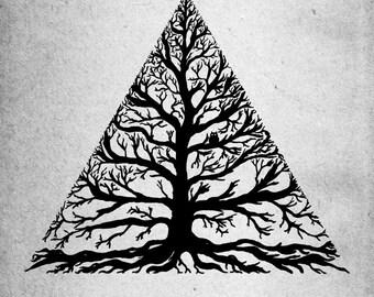 Treeangle- A4 nature tree minimal art print by Jon Turner- FREE WORLDWIDE SHIPPING