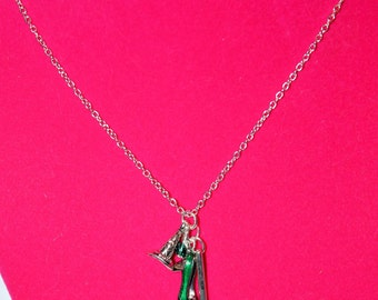 Elphaba Inspired Wicked Witch Broom Hat Green Shoe Necklace Handmade