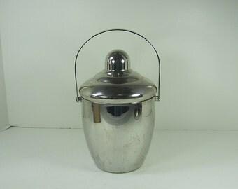 Vintage CHROME ICE BUCKET w/ Lid Stainless Interior Oneida