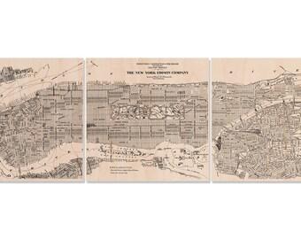 "Vintage New York City Map on 20 x 60"" Three Panel Split Maple Wood Print"