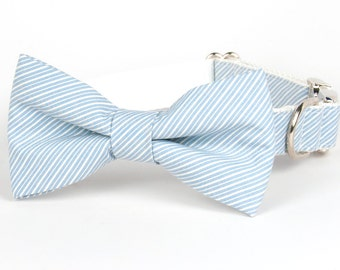 SALE - Crew LaLa™ Denim Blue Pinstripe Bow Tie Dog Collar