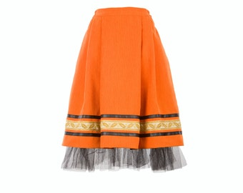 ANCA skirt - orange skirt with vintage embroidery, leather stripe and tulle, folk inspired skirt (S-XXL)