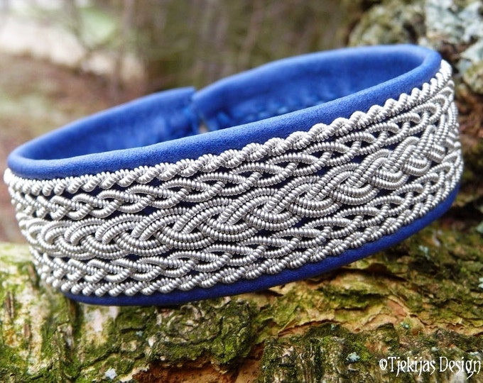 SKADI Viking Sami Bracelet Cuff in Blue Reindeer Leather with Pewter Braids and Antler Button - Handcrafted Norse Jewelry