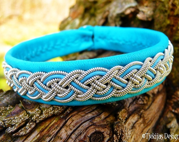 NIFLHEIM Sami Bracelet Turquoise Leather Viking Cuff with Pewter Braid and Antler Button - Custom handmade Authentic Nordic Folklore Jewelry