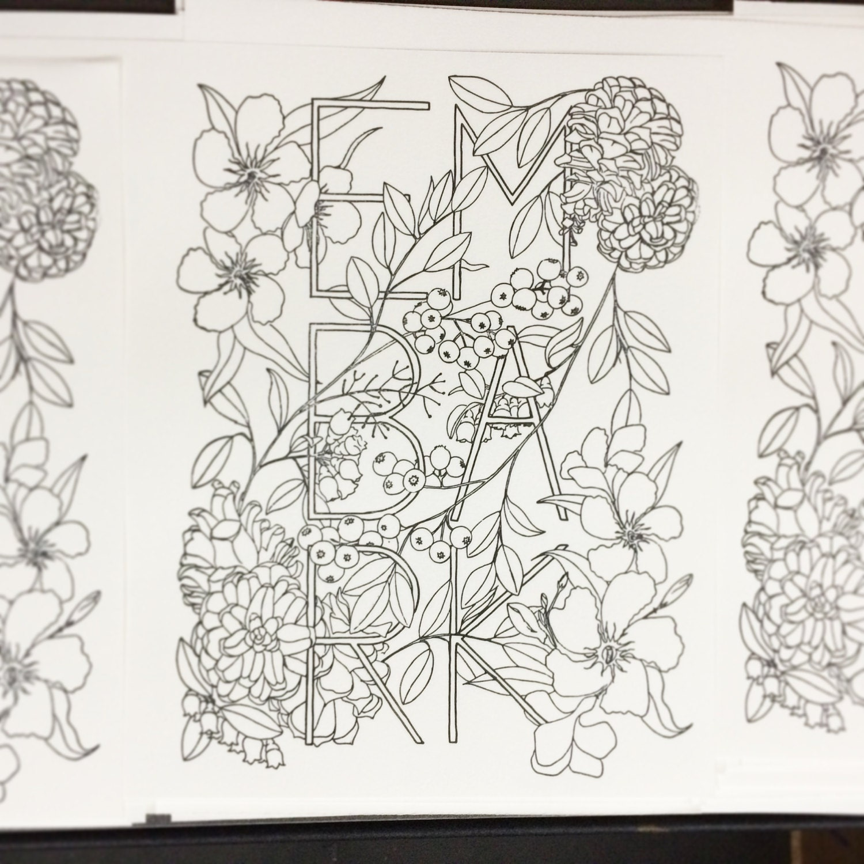 Botanical art coloring book -  Botanical Inklings Watercolor Coloring Book Zoom