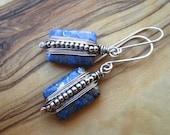 Wire wrapped earrings - Blue earrings - Lapis earrings - Boho Earrings - Sterling Drop Earrings - Wire wrapped jewelry - Dark Blue Earrings