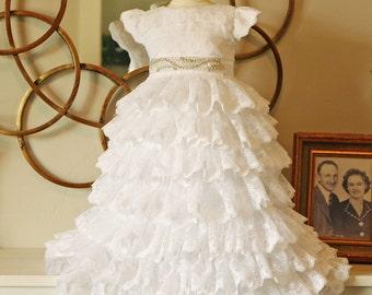 Lace Ruffled Baptism Dress - white baby dress - christening dress - blessing dress - baby dress 0-18 mo.