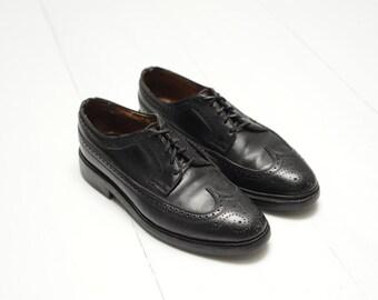 Vintage Florsheim Imperial Black Pebbled Leather Wingtip Oxfords Mens 6 1/2 - 7