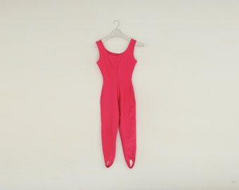 Vintage 80's Jacques Moret Stretch Hot Pink Fitness Jumpsuit, Size Medium / ITEM613