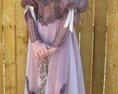 Victorian Fancy Dress, Dusty Mauve, Small