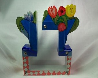 Colorful Tulips Adult Wooden Coin Bank-Personalized Free