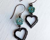 With Love - handmade earrings, glass earrings, turquoise earrings, heart earrings, heart jewellery, songbead, uk jewellery, flower jewellery