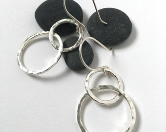 Hammered silver double hoop earrings - hammered silver hoops