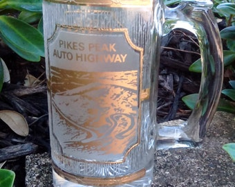 Vintage Culver Pike's Peak Auto Highway Beer Mug/Stein, 22kt Gold Trim Glassware, Barware, Colorado Souvenir, Pike's Peak Souvenir
