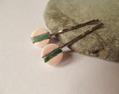 Ceramic Pink and Green Stripe Hair Clip Set, Hair Grip Set, Bobby Pin Set, Ceramic Accessories, Pink Accessories, Striped Accessories