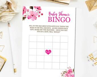 Floral Baby Shower Bingo Game, Pink Baby Bingo Baby Shower Games Pink Floral Baby Girl Shower Game Print Instant Download BB