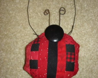 Log cabin LADY BUG LADYBUG Quilted  pieced Ornament decoration