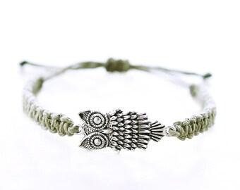 Owl Bracelet - Silver Charm Hemp Bracelet - Hemp Jewelry