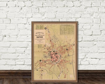 Brno map - Old map of Brno - Fine print