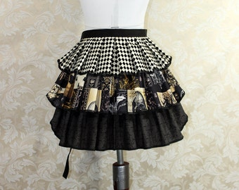 "Ruffle Bustle Overskirt - 3 Layer, Sz. XS - Nevermore Poe Themed Prints - Best Fits Up to 34"" Waist or Upper Hip -- Ready to Ship"