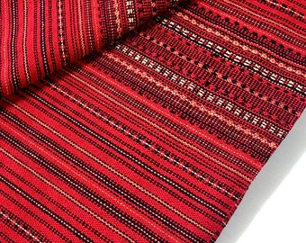 Thai Woven Cotton Fabric Tribal Fabric Native Fabric by the yard Ethnic fabric Aztec fabric Craft Supplies Woven Textile 1/2 yard Red (WF2)