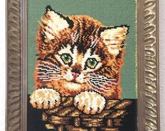 Large Vintage Cat Kitten Cross Stitch Embroidery Wall Art