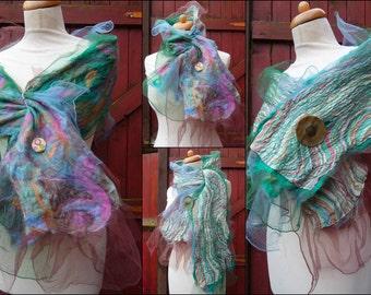 nuno felted scarf, wrap, handmade, silk, felted wool , art to wear, READY TO SHIP, pastel, mint, pink, beige