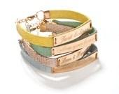 Personalized wish bracelet-leather & goldfilled