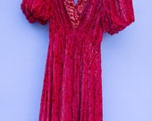 1930s RED Evening Formal Dress S