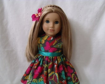 18 Inch Doll-American Girl Dress: Brazilian Butterflies  dress and flower hair clips for Lea Clark