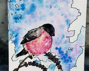 Bird art, Nature watercolor, Bullfinch painting, mixed media, original art, red bird, Eurasian birds, small painting, winter scenery
