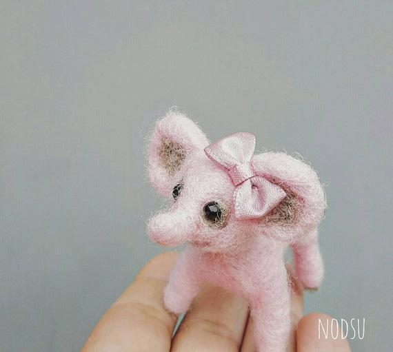 Pink elephant, Miniature felted elephant, needle felted, ugly cute small curio, kawaii oddity, tiny gift for her, felt animal, dollhouse pet