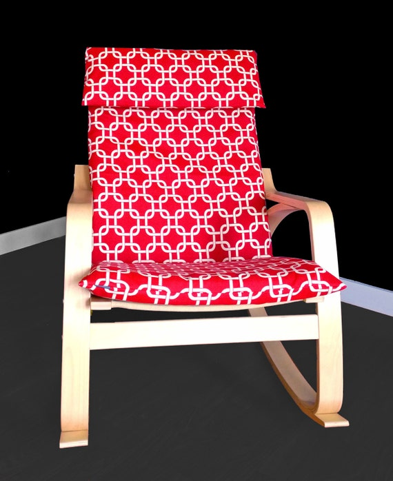 Red squares poang cover red ikea poang chair cover - Red poang chair ...