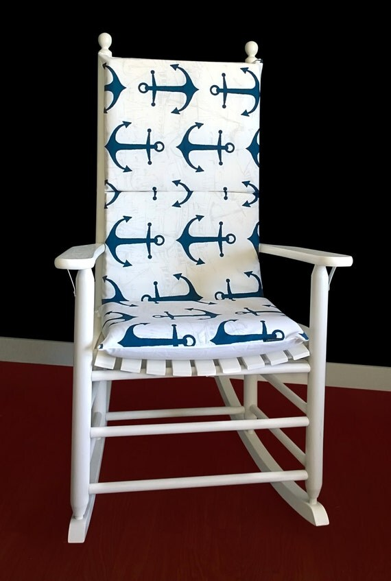 Big Navy Anchors Rocking Chair Cushion